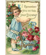I Remember You On Your Birthday Vintage1910 Post Card - $5.00