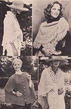 Vtg 1978 Knit Crochet Shawls Cape Afghans Christening Dress Swimsuit Patterns - $12.99