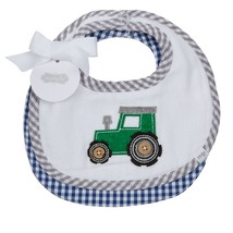 "Mud Pie Baby Boy Tractor Two Piece Bib Set 7 1/2"" x 7 1/2"" NEW - $13.75"