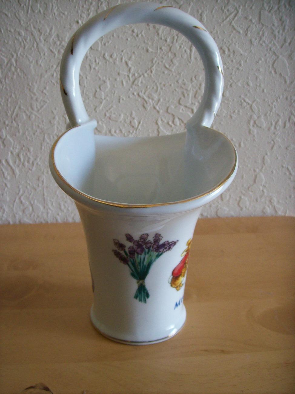 "Beatrix Potter ""Mrs. Rabbit"" Porcelain Handled Vase"
