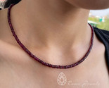 50 CT Rubellite Necklace Red Beads Necklace Rondelle Bead Jewelry (AAAA Qualit - $237.60