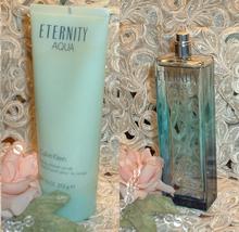 LOT~ Eternity AQUA Calvin Klein ~ 3.4 oz EDP Perfume & 7.5 oz SHOWER SCR... - $43.99