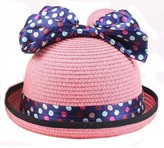 Summer Fashion Sun Hat For Kids With Bowknot Decor&Wave Point Pattern Pink