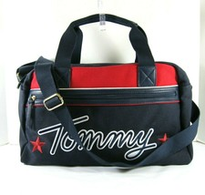 Tommy Hilfiger NWT $128 Navy Duffel Bag Crossbody Large Weekender Embroi... - $54.64