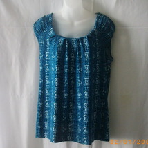 New George cap sleeve top in teal, white and black, size large - $15.00