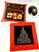 Swirl Tree Needle Creations Embroidery Pillow Wall Hanging Christmas design NICE - $7.61