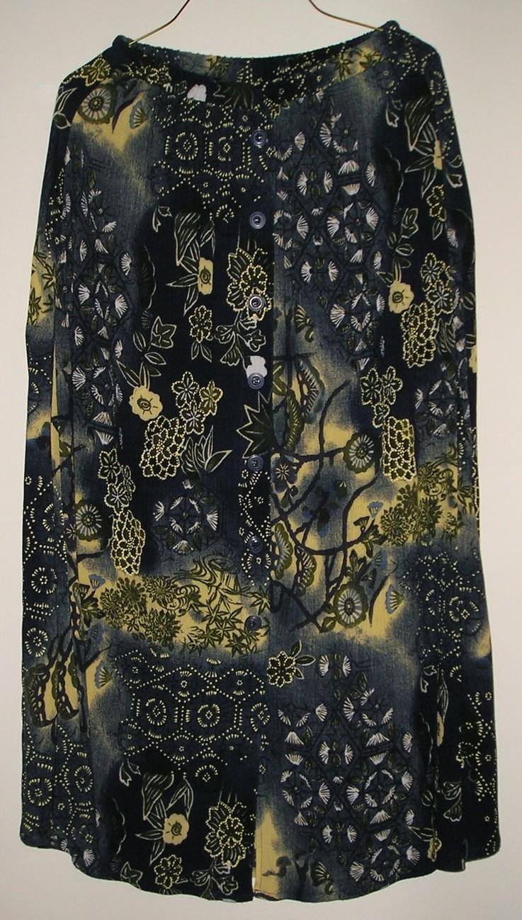 C.m.shapes women s long floral multicolored button skirt sz s   1