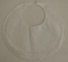 Bobbin Inc 38BB2800 White Linen Double Scalloped Baby Bib image 2