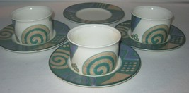 Mikasa Intaglio Life Style CAC18 Cups & Saucers John Bergen 3 Sets - $18.69