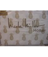 Nicole Miller Home Gold Pineapples on White Cotton Sheet Set King - $74.00