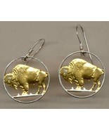 "U.S. nickel ""Buffalo""1913 - 1938,  Gold and Silver cut coin jewelry ear... - $103.00"