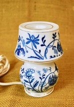 "VINTAGE PERFUME LAMP - White Ceramic w/ Blue Floral Print - 5"" Tall - $34.64"