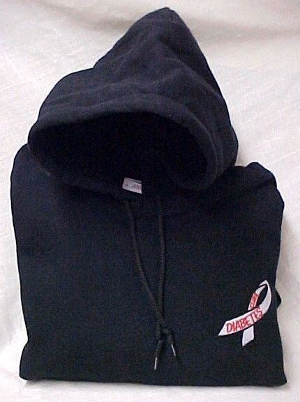 Diabetes Sweatshirt 4XL Embroidered Awareness Ribbon Black Hoodie Unisex New