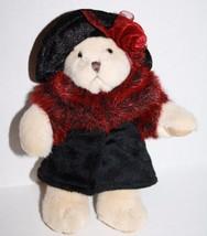 "Russ Berrie Plush Stuffed Soft Toy OKSANA TEDDY BEAR 7"" Coat Rose Hat Sc... - $11.60"