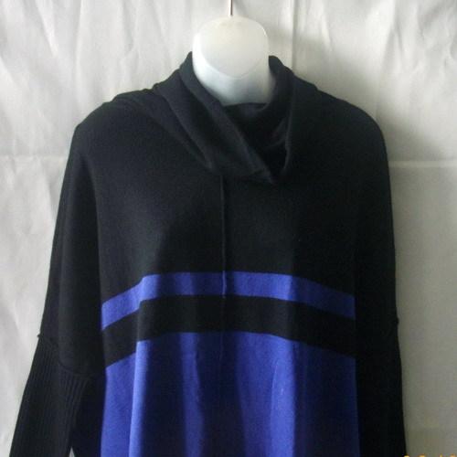 Les Temps des Cerises long-sleeved cowl-neck sweater in black & periwinkle blue