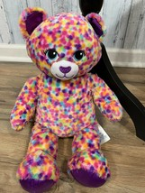 "BAB Build A Bear Kitty Cat Plush Rainbow Confetti Dots 16"" Purple Glitte... - $13.86"