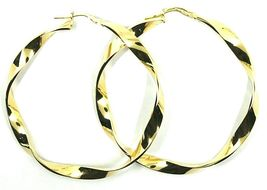 18K YELLOW GOLD CIRCLE HOOPS PENDANT EARRINGS, 4.8 cm x 5 mm BRAIDED, TWISTED image 3