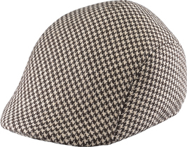Henschel Wool Houndstooth Pattern Formed Riding Cap Closed Back Brown Ch... - $43.00