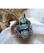 Sterling Silver Natural Opal Ring 5.4 grams Siz... - $65.00