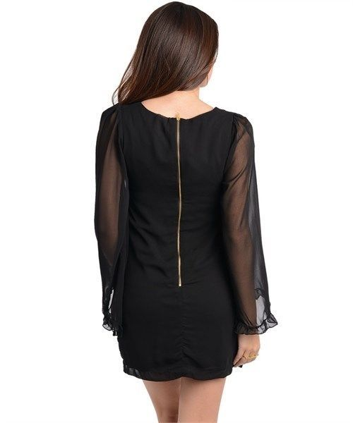 M Black Sexy Lolita Boho Gothic Goth Emo Gypsy Top Tunic Cocktail Mini Dress