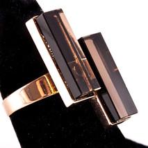 Vintage 1950's 14k Rose Gold Rectangle Smokey Quartz Cocktail Ring 21.24ctw - $670.00