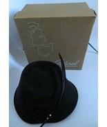 Vintage Womens Glenover Mid-Century 100% Wool Black Hat w\Original Feder... - $39.99