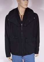 Michael Kors CU52DHB0GR Men Black Lined Hooded Windbreaker Bomber Jacket... - $95.99