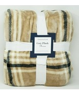 """Charter Club Cozy Plush Soft 50"""" x 70"""" Plaid Throw Blanket - Tan NEW W TAG - $39.00"""