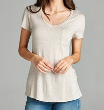 Relaxed Short Sleeve Shirt, V Neck Pocket Tee, Oatmeal Pocket Tee, Womens