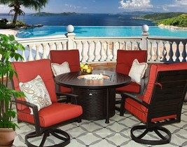 Heritage Outdoor Living PATIO 5PC DINING SET 50 INCH ROUND FIRE TABLE - $5,636.07