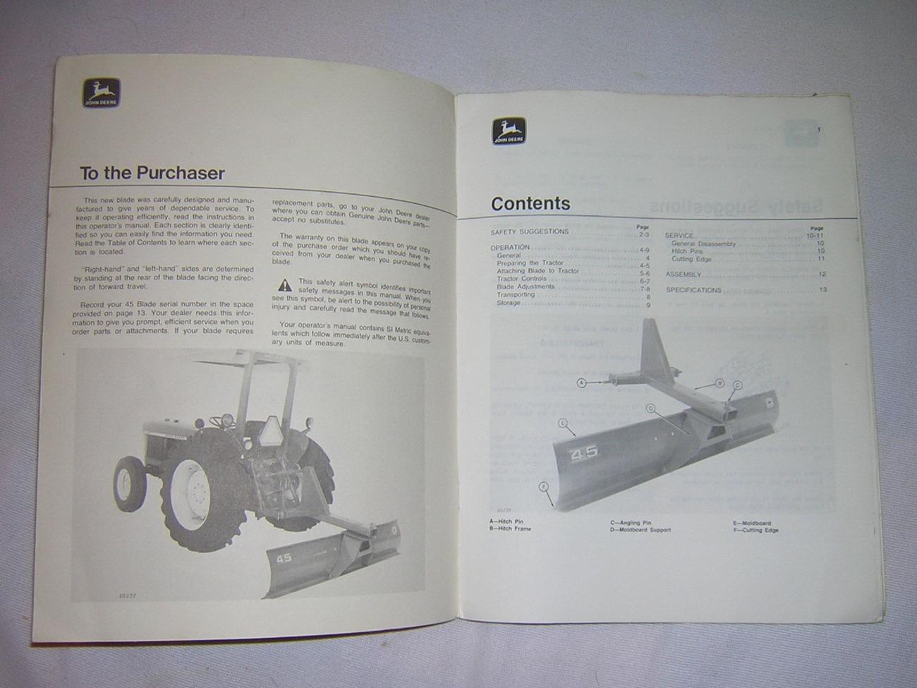 John Deere 45 Rear Blade Operator  Manual