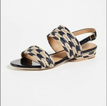 New Tory Burch Lola Rope Navy Blue Leather Sling Back Flat Sandal Womens Size 6 - $119.00