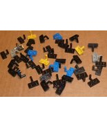 LEGO Parts lot of 43 Plates 1 x 2 with arm, mixed colors mostly black - $28.59