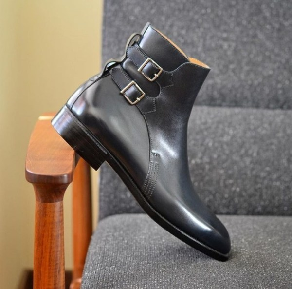 Handmade Men's Black Double Monk Strap High Ankle Leather Boots