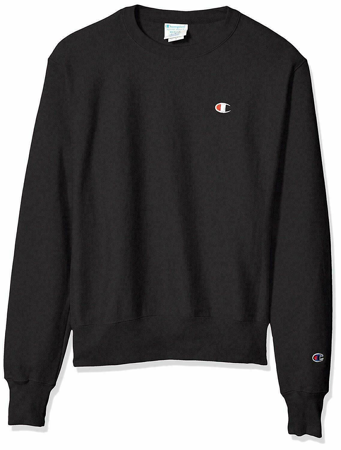 Champion Life Reverse Weave Sweatshirt Black Men's Medium Crew Neck Long Sleeve image 2