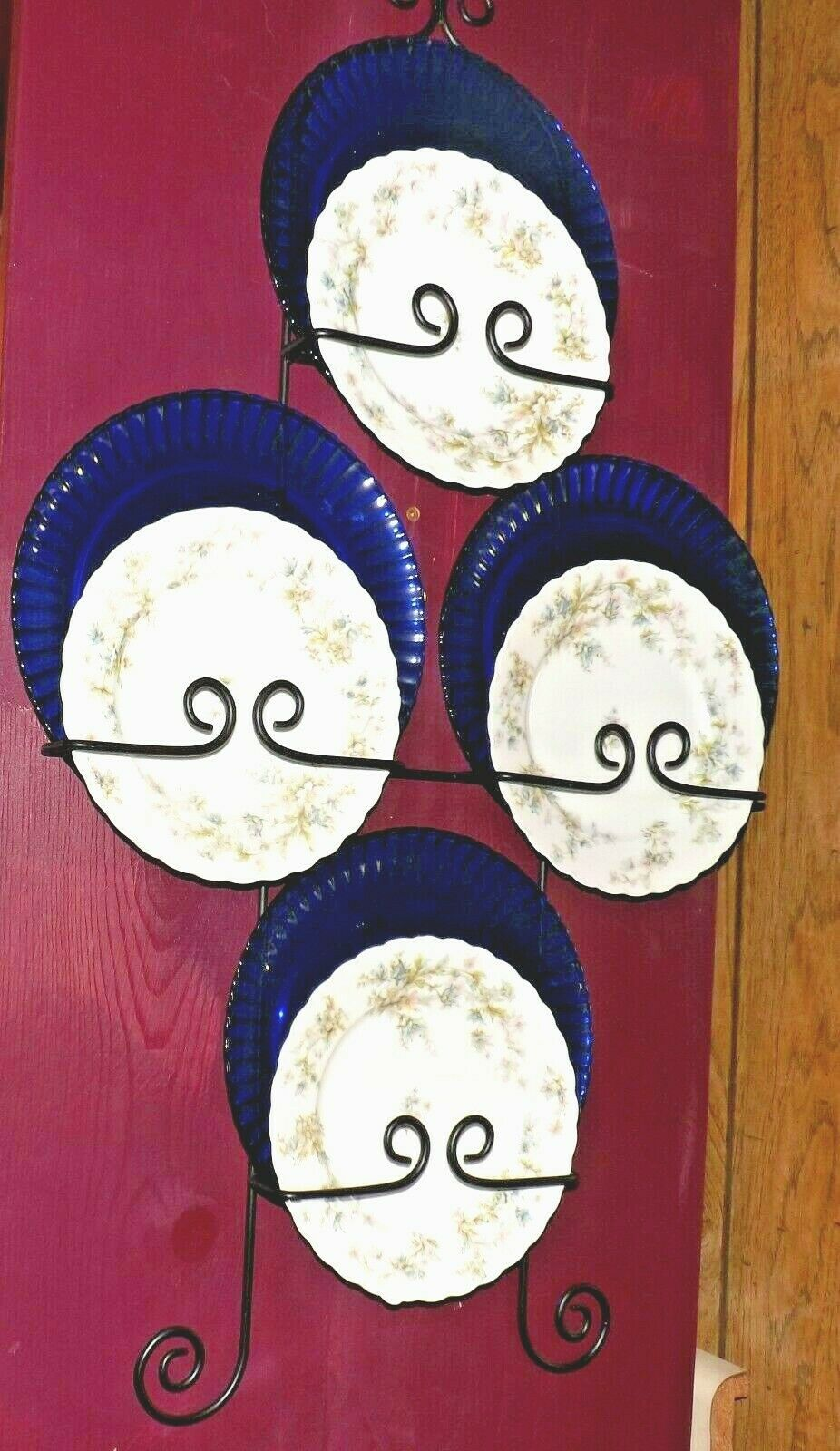 Haviland Limoges plate set with blue chargers and plate hanger AA19-1626  Vintag