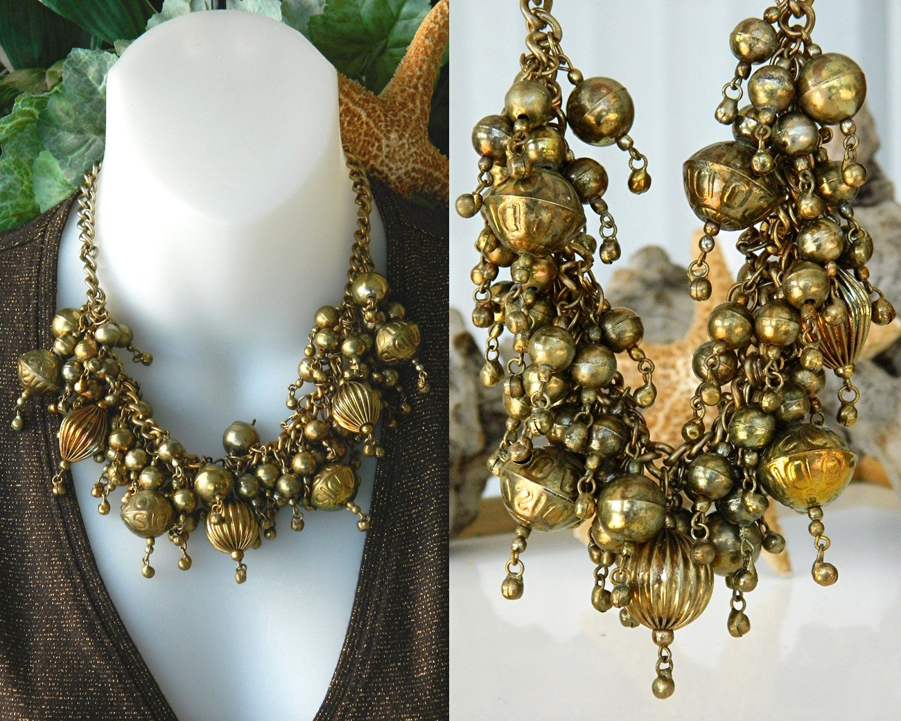 Vintage chunky necklace brass ball choker cluster runway