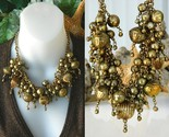 Vintage chunky necklace brass ball choker cluster runway thumb155 crop