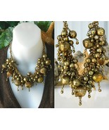 Vintage chunky necklace brass ball choker cluster runway thumbtall
