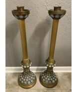 """Huge Pair of 31"""" Tall Brass Gilded Opaque Milk Glass Candlestick Entry Pillar - $944.90"""