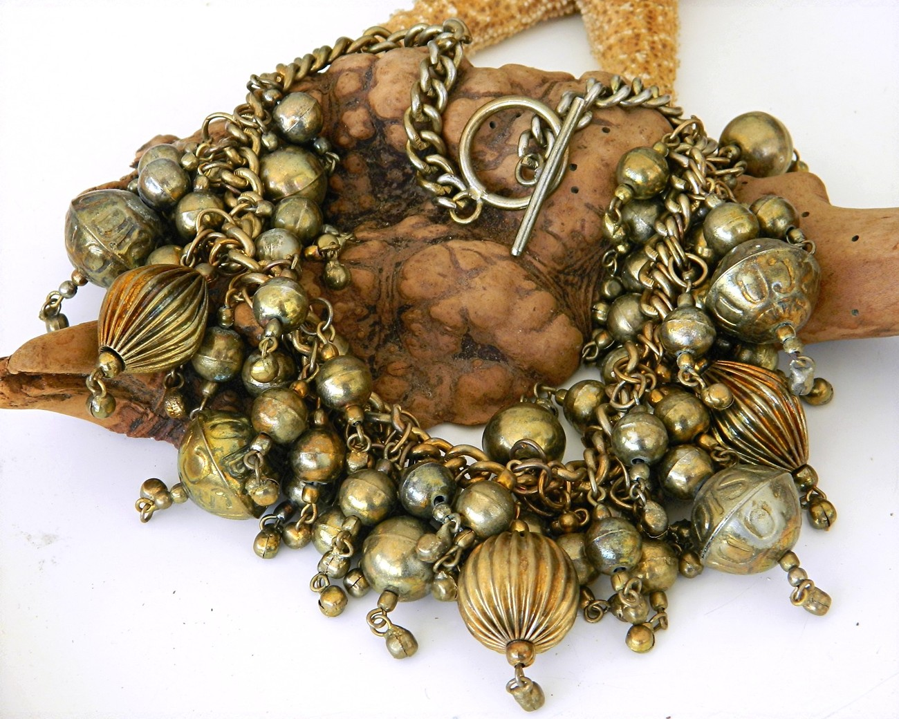 Vintage Chunky Necklace Brass Balls Choker Cluster Runway Big