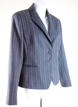 INC Petite Large Jacket 12P Gray Pinstripe Wool Blend Blazer Career - $22.52