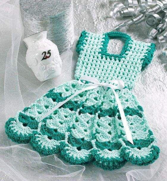 W057 Crochet PATTERN ONLY Doll Dress Pot Holder Potholder