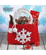 W059 Crochet PATTERN ONLY Snowflake Gift Bag Tote Pattern Christmas - $7.50