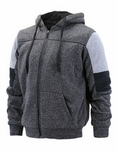 Men's Two Tone Warm Soft Sherpa Lined Moto Quilted Zipper Fleece Hoodie Jacket image 15