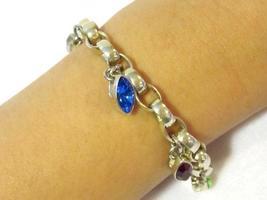 Heavy sterling silver 925 Rhinestones bracelet 9'' long - $80.00