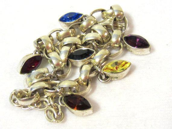 Heavy sterling silver 925 Rhinestones bracelet 9'' long