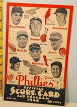 1944 Philadelphia Phillies Baseball Scorecard Great Cover Salesman Sample - $118.80