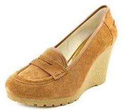 Women's Shoes Michael Kors RORY LOAFER  Platform Wedge Heel Suede Walnut - $80.99