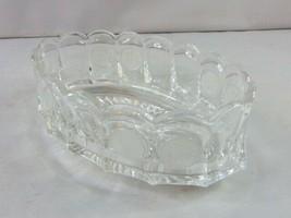 Vintage Decorative Pressed Glass Fostoria Coin Pattern Oval Bowl  - $34.65